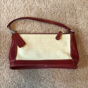 Coach linen and leather mini bag